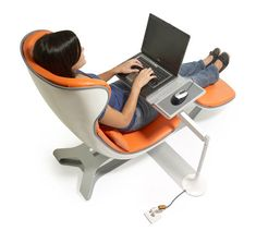 Comfortable Desk and Chair Workstation - Furniture Home Idea Ergonomic Computer Chair, Ergonomic Chair, Laptop Table, Laptop Desk, Cool Office, Small Office, Casual Office, Office Spaces, Office Style