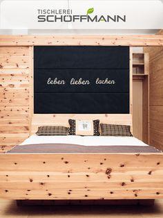 massives Zirbenholz, aus den Kärntner Nockbergen Lettering, Walking Closet, Bed, Drawing Letters, Texting