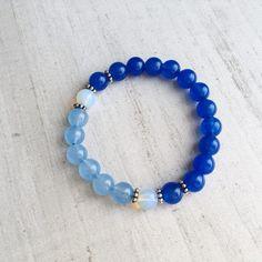 Blue bracelet - Beaded bracelet - Summer bracelet - Mala bracelet - Yoga bracelet - summer jewelry - Moonstone by TreasureYourselfShop on Etsy
