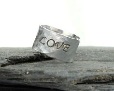 LOVE  Personalized Silver Ring  Custom Engraved Wide by MerCurios, $28.00