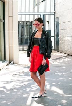 New Fashion Lapel Diamond Hit Color Blouse Street style and fashion trends - Lelook Cute summer dress :) WGSN - Fashion Trend Forecasting: . New Fashion Trends, Fashion Models, Girl Fashion, Womens Fashion, Cute Summer Dresses, Material Girls, Leather Skirt, Red Leather, Leather Jacket