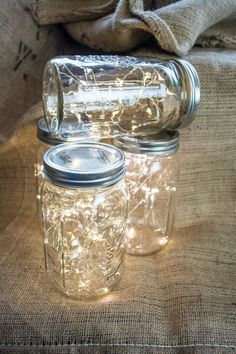 Perfect for any party - inside or outside! Use these Mason Jar lights to decorate for a Winter Wonderland Baby Shower! Christmas craft ideas for light decorations. Winter decor.