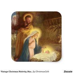 Vintage Christmas Nativity, Mary Joseph Baby Jesus