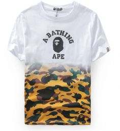 Hot Brand Bape Camouflage Print T shirt Round Neck Tops Tees Short Sleeve White T-shirt For Men/Women Supreme Clothing, Camouflage, Bape Shirt, T Shorts, Hip Hop Outfits, A Bathing Ape, Harajuku, Couture, Everyday Outfits
