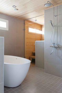 kuva Bathroom Toilets, Laundry In Bathroom, Bathroom Cleaning, Bathrooms, Sauna Design, Home Spa, Bathroom Inspiration, Modern Bathroom, Home And Living