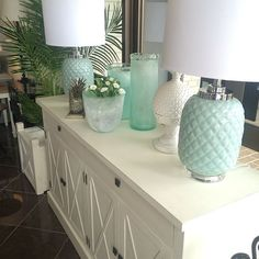Sideboard Styling from Rococo Design. Love the mint green and fresh white together www.rococodesign.com.au Katie Homes, Sideboard Buffet, Beauty Room, Living Room Inspiration, Beautiful Lights, Rococo, Mint Green, Living Rooms, Lounge