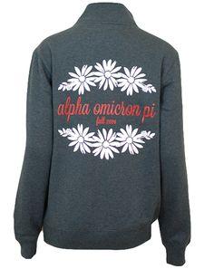 Alpha Omicron Pi Daises Pullover by Adam Block Design   Custom Greek Apparel & Sorority Clothes   www.adamblockdesign.com