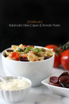 {20 Minute} Kalamata Olive, Tomato and Caper Pasta by Nutmeg Nanny