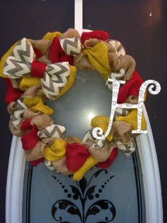 Yellow red chevron burlap wreath with inital. by BoutiqueBurlap, $45.00