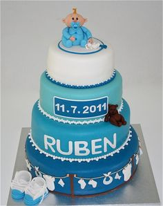 Baby boy cake! TOOO cute. Won't need this much cake though.