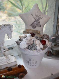 Szarvasos karácsonyi asztaldísz - Madárka Bazár