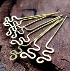 Snake Headpins. Hammered Brass Head Pins 22 gauge. Zigzag Wire headpins set. Handmade Findings.