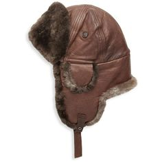 Crown Cap Fur-Trimmed Leather Aviator Hat ($140) ❤ liked on Polyvore featuring accessories, hats, leather adjustable hat, aviator hat, leather aviator hat, crown cap hat and fur trimmed hat