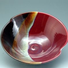 Handmade Porcelain Pottery Stoneware Bowl Plum Red by MarksPottery, $45.00