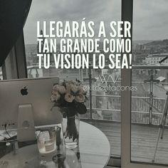 ¿Quieres ser EXITOSA? ten una GRAN VISIÓN!!! Y lucha por ella.  -WV-  Síguenos por Instagram @exitoentaconeswv   #exitoentacones #frase #motivacion #dequeestashecha
