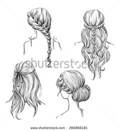 set of different hairstyles. Hand drawn. Black and white. - stock vector