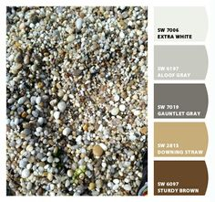 Pebbles from the Long Island shoreline serve as inspiration for a great neutral palette using @Sherwin-Williams paint colors! #paint #color #palette