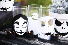 Create your own creepy candle holders featuring Jack, Sally, and Oogie Boogie from Tim Burton's The Nightmare Before Christmas.