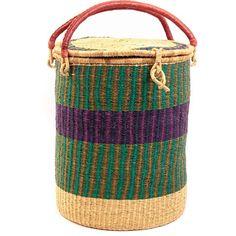 African Basket - Ghana Bolga - Lidded Laundry Hamper - 17.5 Inches Across - #39176