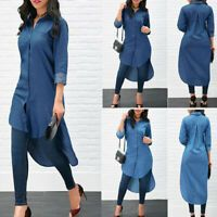 Womens Blue Jeans Denim T-Shirt Long Sleeve Casual Loose Shirt Mini Dress - Blue Dresses - Ideas of Blue Dresses Denim Midi Dress, Mini Shirt Dress, Long Sleeve Shirt Dress, Long Blouse, Long Sleeve Shirts, Denim T Shirt, Denim Blouse, Jean Blouse, Denim Top