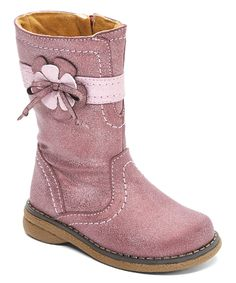 Look at this Pink Sueded Olympus Floral Boot on #zulily today!