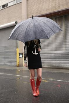 rainy day outfit // what to wear in the rain // hunter boots and dress