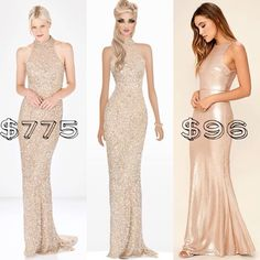 Top Look for Less  Love the gold glitter of the Parker Elise dress but not the $775 price tag? Check out the sleeker Lulus Notorious rose gold maxi dress for $96.  #toplookforless