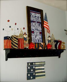 Shelf decorated for July 4th