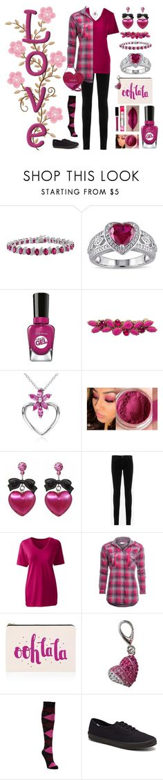 """Valentine's Date Night"" by pinky-dee ❤ liked on Polyvore featuring Allura, Miadora, Sally Hansen, Valentino, Ice, Tarina Tarantino, AG Adriano Goldschmied, Lands' End, Columbia and ALPHABET BAGS"