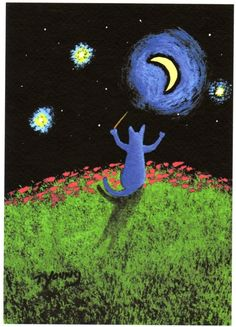 Russian Blue Cat MAESTRO limited edition by ToddYoungArt on Etsy, $12.00