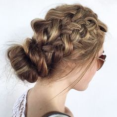 Updo with thick braids