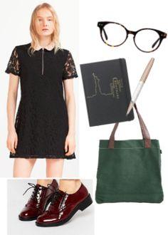 Black dress, burgundy shoes, green bag