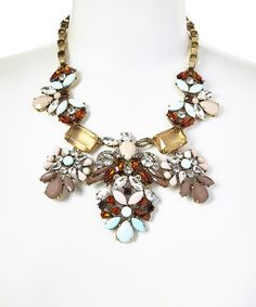 Another great find on #zulily! Taupe & Aqua Teardrop Bouquet Cluster Necklace #zulilyfinds