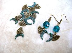 8 Hummingbird Charms - Blue Hummingbird Charms - Bird Charm Lot - Jewelry Findings - Jewelry Supplies - Double Sided by BohemianGypsyCaravan
