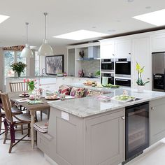 Pale grey kitchen with island unit | Kitchen decorating | Beautiful Kitchens | Housetohome.co.uk