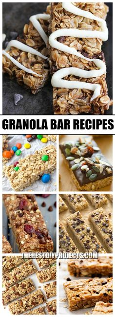 Granola Bar Recipes are the Perfect Snack! We all love granola bars, so we are so excited to share with you these recipes for the best granola bars you have ever tasted. You will never want the store bought brand again! Best Granola Bars, Chocolate Chip Granola Bars, No Bake Granola Bars, Chewy Granola Bars, Homemade Granola Bars, Yummy Snacks, Healthy Snacks, Kid Snacks, Delicious Recipes