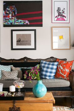home of Jessica McKay and Christopher Van Buskirk as seen on Design Sponge. beautifully curated collection of art, patterns and colours