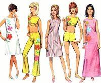 1960s MOD Beachwear Pattern SIMPLICITY 7017 Slim Dress In 2 Lengths, Midriff Top, Hip Hugger Bell Bottom Pants Shorts Bust 36 Vintage Sewing Pattern + Applique Transfer FACTORY FOLDED