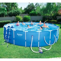 fa067a6e510 The 18-foot by 48-inch Steel Pro Swimming Pool Set by Bestway is perfect  for summer fun with your friends and family. This premium-grade above-ground  pool ...