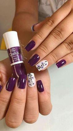 Spring Nail Art, Spring Nails, Summer Nails, Spring Art, Purple Nail Art, Colorful Nails, Fall Nail Art Designs, Floral Designs, Flower Nails
