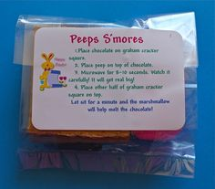 S'more Peeps!!! Free Printable Labels.  Fits perfectly in a snack sized ziploc.