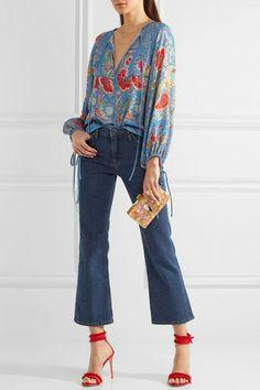 €990 ROBERTO CAVALLI  Floral-print silk-chiffon blouse  €990