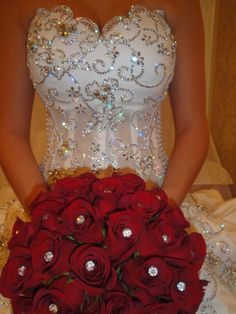 Amazing strapless wedding dress with sequins and bling all over. Red roses wedding bouquet with crystal accents in the center of each rose. Red Rose Wedding, Bling Wedding, Wedding Bells, Wedding Bouquets, Wedding Day, Wedding Dreams, Wedding Things, Dream Wedding Dresses, Wedding Gowns