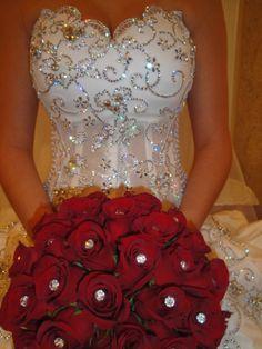 #wedding #dress #white #bling #glitter #roses