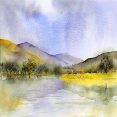 Lake District by rachel mcnaughton, watercolour Watercolor Painting Techniques, Watercolour Painting, Watercolors, Art Tutor, Pen And Wash, Winter Landscape, Lake District, Paintings, Artwork