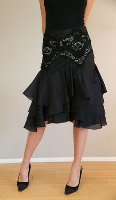 Bustling Silk Ruffled and Embroidered-Lace Applique Skirt