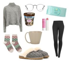 """""""Lazy day"""" by ailed-retana ❤ liked on Polyvore featuring UGG Australia, Ceramiche Bucci, Hansel from Basel, Designers Remix, Ray-Ban, Estée Lauder, Korres and LE3NO"""
