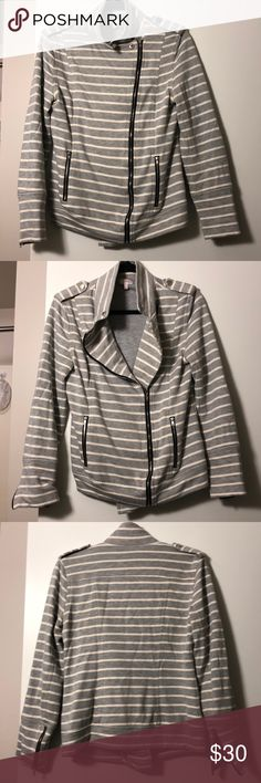 Pixley striped bomber jacket - M Lovingly pre-owned bomber style jacket. Very comfortable as it feels like a thick sweatshirt, yet stylish. The black lining and zippers add a nice touch. Has small pockets. Versatile and can be dressed up or down. Good for the office or with jeans and sneakers. Small near zipper at left arm opening (see last pic). Pixley Jackets & Coats