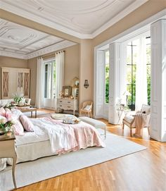 Beautiful ceilings. And are those interior shutters for all of the windows and doors? Heaven!