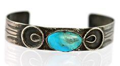 Antique Navajo Sterling Silver Turquoise Bracelet